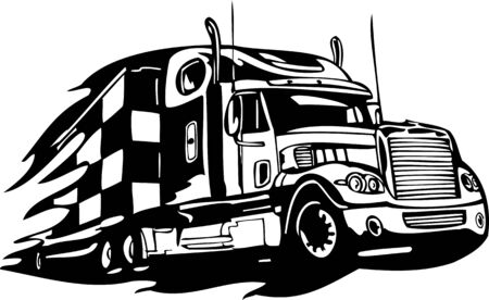 Racing Trucks with inclusion of a flames and tribal. illustration ready for vinyl cutting. Stock Vector - 8652249