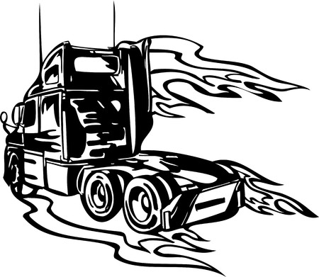 Racing Trucks with inclusion of a flames and tribal. illustration ready for vinyl cutting. Stock Vector - 8651055