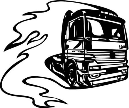 Racing Trucks with inclusion of a flames and tribal. illustration ready for vinyl cutting. Stock Vector - 8651101