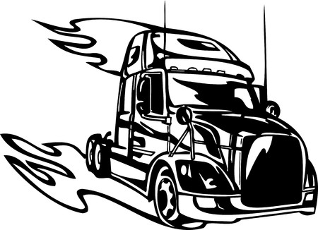 Racing Trucks with inclusion of a flames and tribal. illustration ready for vinyl cutting. Stock Vector - 8652127