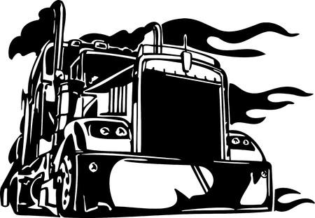 mode of transport: Carreras de camiones con inclusi�n de un llamas y tribales. Ilustraci�n listo para corte de vinilo. Vectores