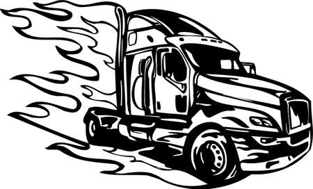 Racing Trucks with inclusion of a flames and tribal. illustration ready for vinyl cutting. Stock Vector - 8652330