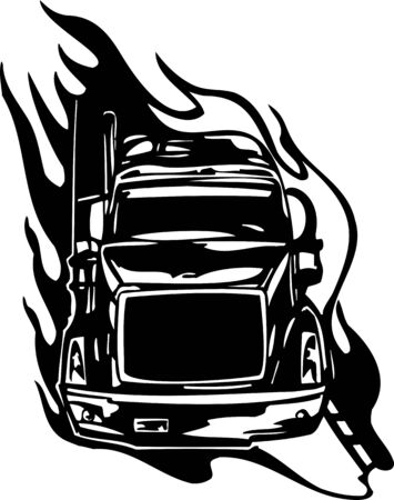 Racing Trucks with inclusion of a flames and tribal illustration ready for vinyl cutting. Stock Vector - 8651069