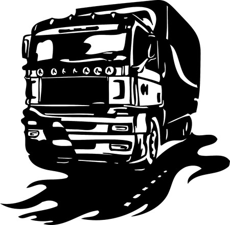 Racing Trucks with inclusion of a flames and tribal. illustration ready for vinyl cutting. Stock Vector - 8651060