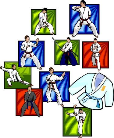 tae: Deportes de combate orientales - ilustraci�n listo para corte de vinilo.