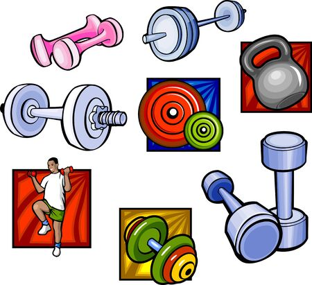 Weights and dumbbell - illustration ready for vinyl cutting.