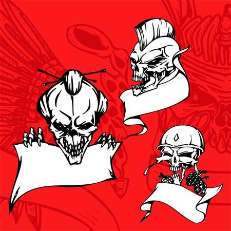 Skulls. Illustration.Vinyl Ready. Vector