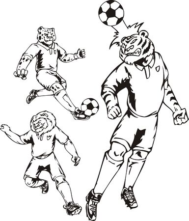 The tiger beats a head on a ball. Soccer mascot. illustration ready for vinyl cutting. Vector