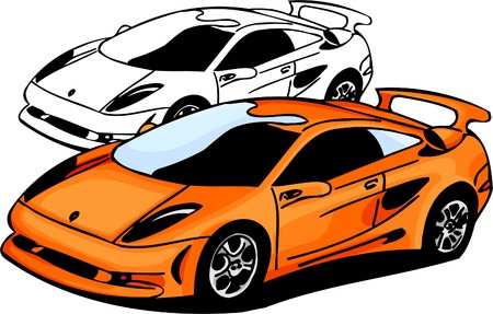 car side view: Sport Cars.  Illustration.Vinyl Ready.