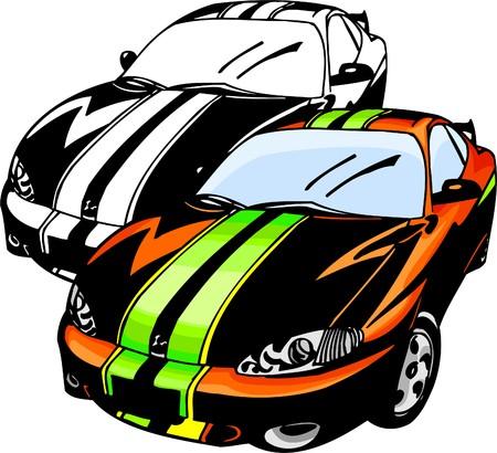 domestic car: Sport Cars.  Illustration.Vinyl Ready.