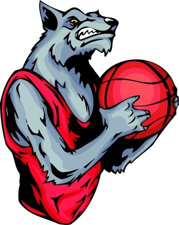 assured: Sonriente lobo gris con una pelota de baloncesto. Animales de la mascota de deporte.   Ilustraci�n - versiones de color en blanco y negro.