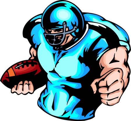 cartoon football player: The American football player in a dark blue uniform and with a ball. Sport mascot animals.  illustration - color   bw versions.