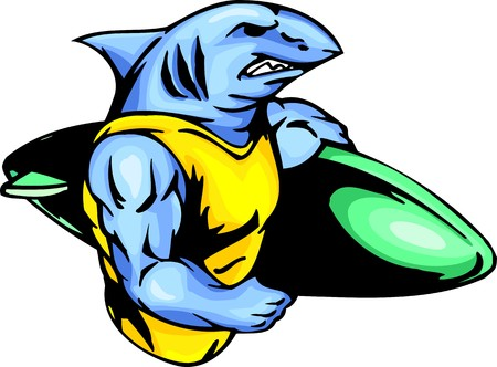 cartoon surfing: The embittered blue shark with a surfboard. Sport mascot animals.  illustration - color   bw versions. Illustration