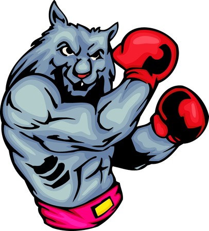 Grey wolf in red boxing gloves. Sport mascot animals.  illustration - color   bw versions.