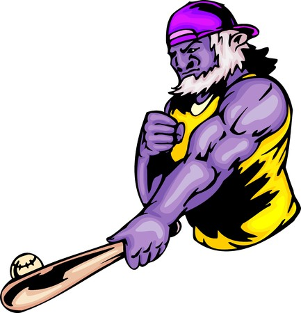 Violet bearded gorilla in a cap with a baseball ball and a bat. Sport mascot animals.  illustration - color   bw versions. Vector