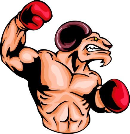 guantes boxeo: Ram enfurecido con un guantes de boxeo. Animales de la mascota de deporte.  Ilustraci�n - versiones de color blanco y negro.