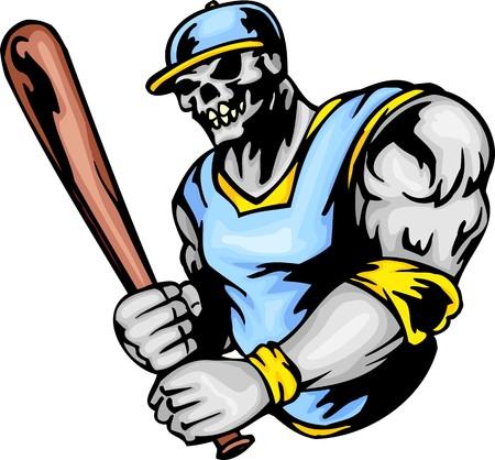 koel: Skelet in een sinus-geel uniform en met een vleermuis in handen. Sport mascotte dieren.   illustratie - kleur zwart-wit versies. Stock Illustratie