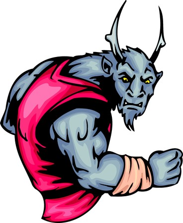 Grey horned demon with burning eyes.. Sport mascot animals.  illustration - color   bw versions. Vector