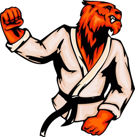 Angry tiger the judoist. Sport mascot animals.  illustration - color   bw versions. Vector