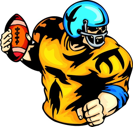 cartoon football player: Skeleton - the American football player in a uniform and with a ball. Sport mascot animals. illustration - color   bw versions. Illustration