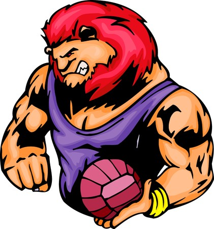 The red mane angry lion with a ball. Sport mascot animals.   illustration - color   bw versions. Vector