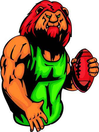 Lion with a ball for Rugby football. Sport mascot animals.  illustration - color   bw versions. Vector