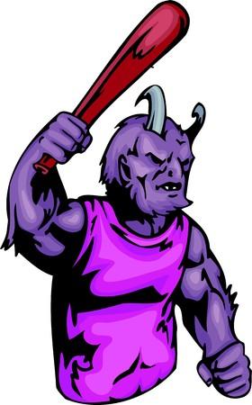 Devil with a baseball  bat. Sport mascot animals.  illustration - color   bw versions. Vector