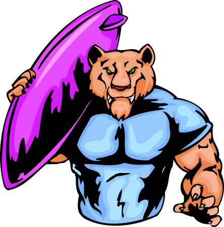 surf team: Tiger with a surfboard on a shoulder. Sport mascot animals.   illustration - color   bw versions.