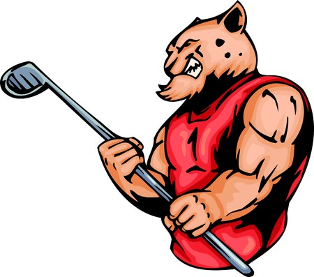 Furious tiger  with a stick for a golf. Sport mascot animals.   illustration - color   bw versions. Illustration