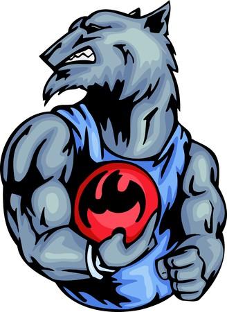assured: Lobo gris con una bola de bowling. Animales de la mascota de deporte.  Ilustraci�n - versiones de color en blanco y negro.