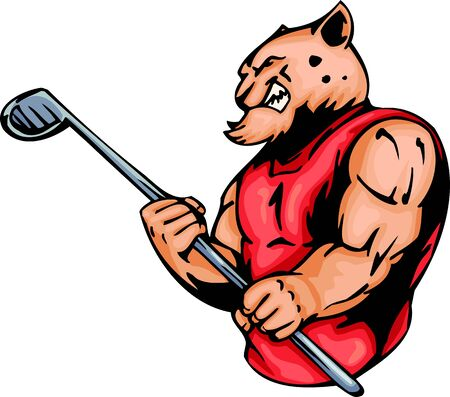 Furious tiger  with a stick for a golf. Sport mascot animals.   illustration - color   bw versions. Vector