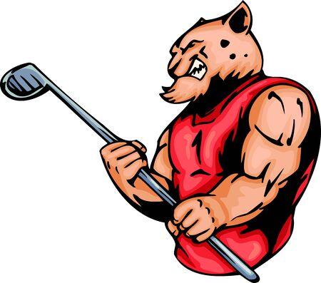 golf stick: Tigre furioso con un palo para un campo de golf. Animales de la mascota de deporte.   Ilustraci�n - versiones de color en blanco y negro.