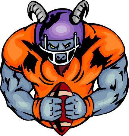 cartoon football player: Goat - the American football player in a uniform and with a ball. . Sport mascot animals.  illustration - color   bw versions.
