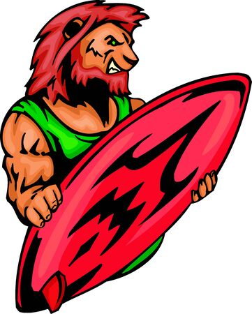 Lion  with a red surfboard. Sport mascot animals. illustration - color   bw versions. Vector