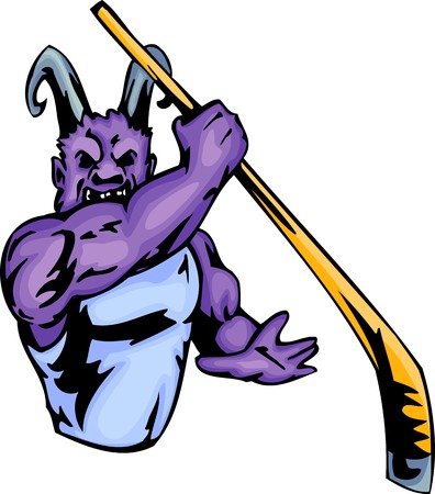 Demon with a hockey stick. Sport mascot animals. illustration - color   bw versions. Vector