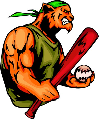 big smile: Panther with a baseball bat and ball. Sport mascot animals.  illustration - color   bw versions. Illustration
