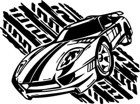 motor racing: Coches de carreras de calle.  Ilustraci�n listo para corte de vinilo.