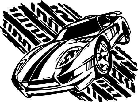Street Racing Cars.  illustration ready for vinyl cutting. Stock Vector - 8682370