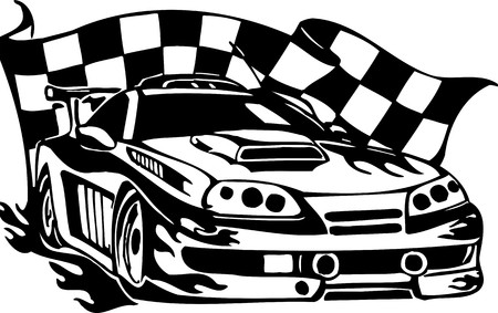 motorized sport: Street Racing Cars.  illustration ready for vinyl cutting.  Illustration