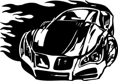 Street Racing Cars.  illustration ready for vinyl cutting. Stock Vector - 8682806