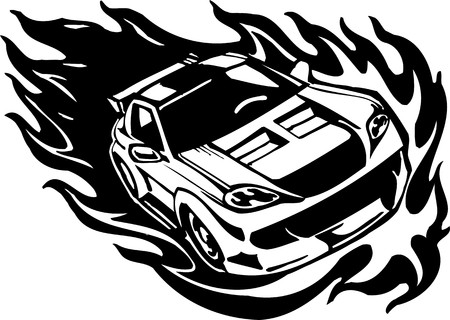 Street Racing Cars. illustration ready for vinyl cutting.