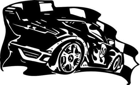 spoiler: Street Racing Cars.  illustration ready for vinyl cutting.  Illustration