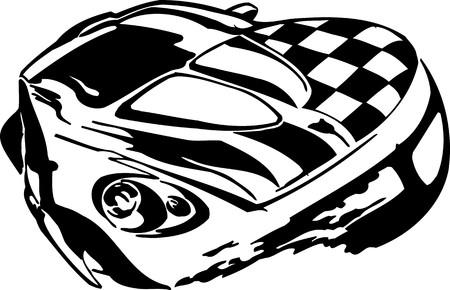 Street Racing Cars. illustration ready for vinyl cutting.  Vector