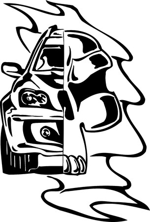 Street Racing Cars. illustration ready for vinyl cutting. Stock Vector - 8682416