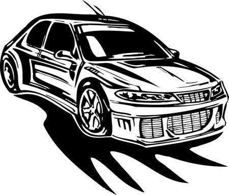 Street Racing Cars. illustration ready for vinyl cutting. Stock Vector - 8682367