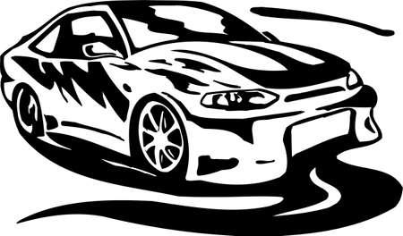Street Racing Cars. illustration ready for vinyl cutting. Stock Vector - 8682582
