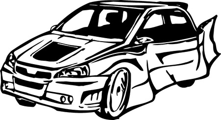 Street Racing Cars. illustrazione pronta per il taglio di vinile.