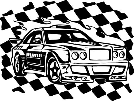 racing sign: Street Racing Cars. illustration ready for vinyl cutting.