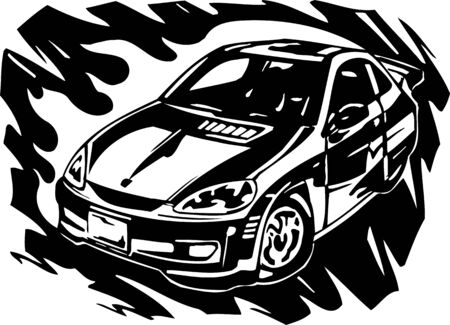 Street Racing Cars. illustration ready for vinyl cutting. Stock Vector - 8682405