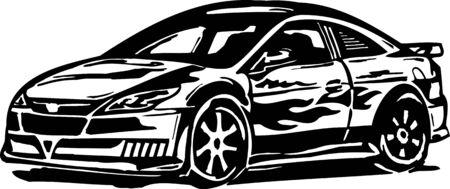 Street Racing Cars. illustration ready for vinyl cutting. Stock Vector - 8682503